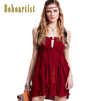 Bohoartist Dress 2017 Summer Cotton Ruffle Off Shoulder Straps Tassel Backless Ribbon Chic Back Hippie Boho