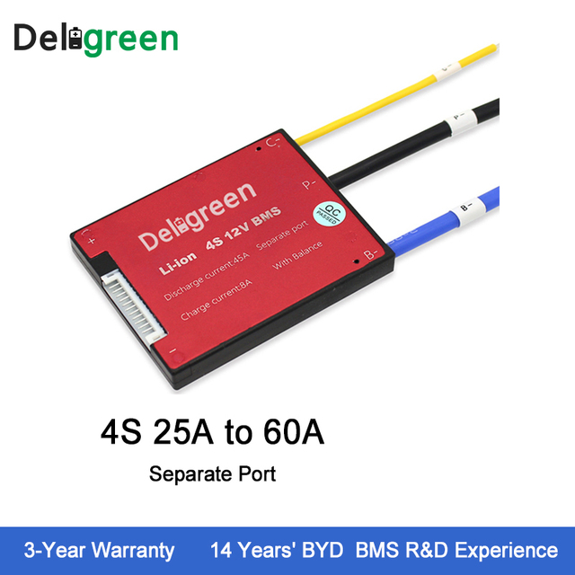 Deligreen 4S25A35A45A60A 12V PCM/PCB/BMS for 3.2V lithium battery pack LiFePO4 Battery Pack Separate Port