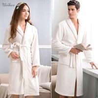 New Women Solid Bath Robe Coral Fleece Night Gown Spa Bathrobe Unisex Pajamas Long Sleeve Sleepwear