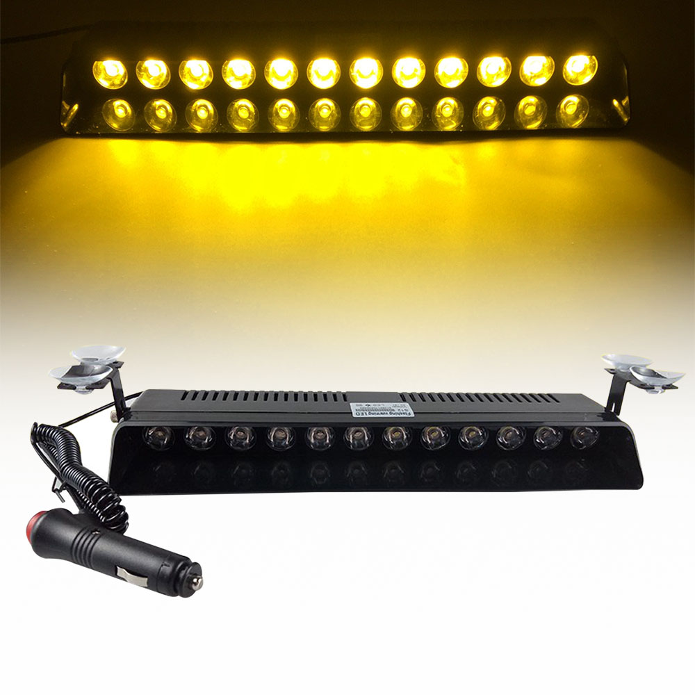 High Power 12 LED Strobe Flash Warning Windscreen Car Light Flashing Firemen Fog Emergency Vehicle Lights Red Blue Yellow DC12V