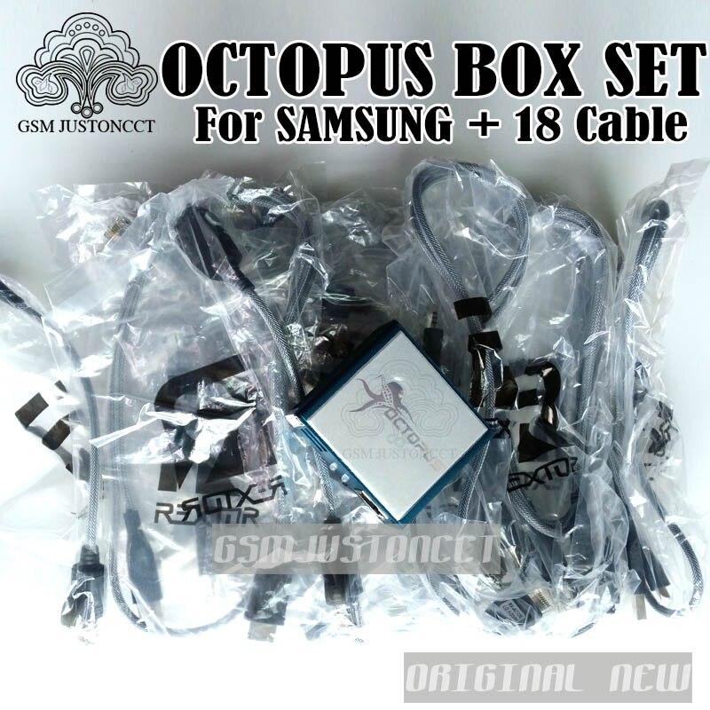 2018 100% оригинальный новый Octopus Box/octoplus ящик для инструмента с 18 кабели для samsung/Unlock & Flash, и ремонт мобильных телефонов