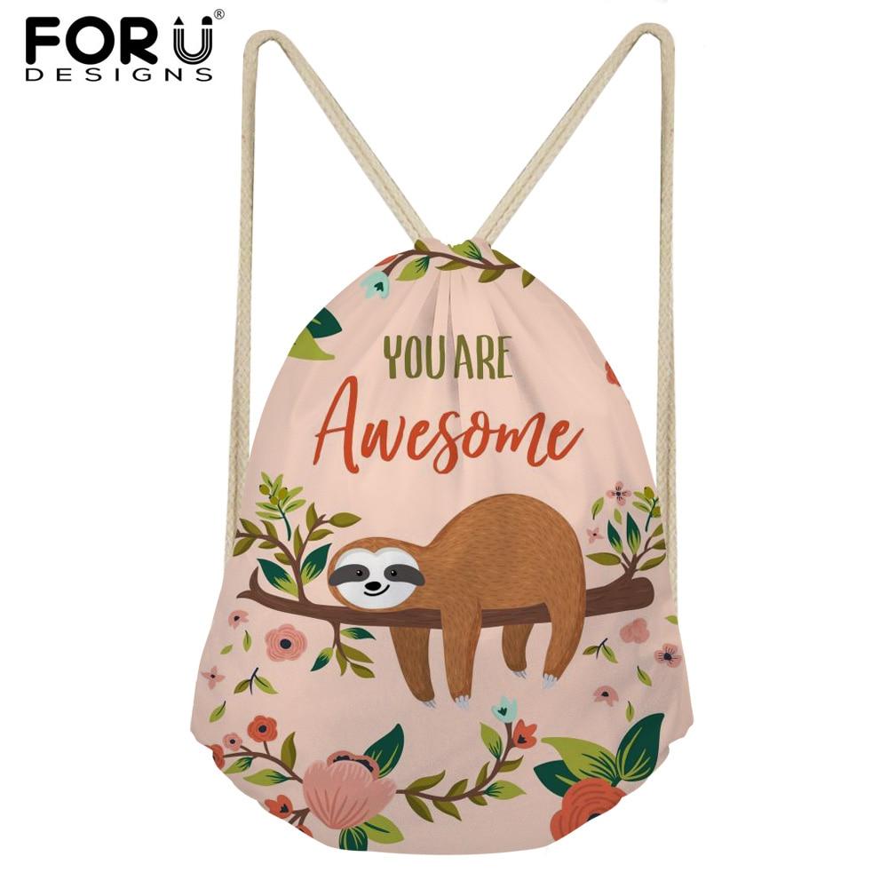 FORUDESIGNS School Girls Small Drawstring Bag Cute Cartoon Animal Sloth Print Women's Mochila Storage Bags Cinch Shoulder Bags