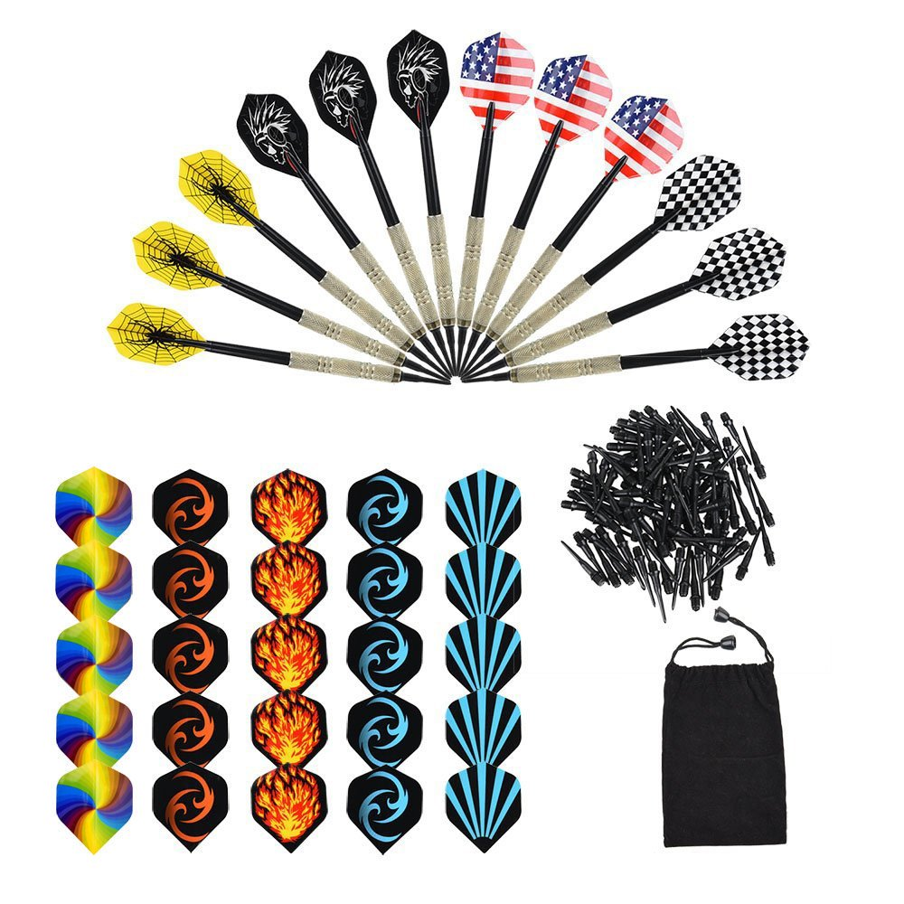 Darts 12 Pieces Darts Plastic Tip Set For Electronic Darts Brass Darts With 30 Flights And 100 Tips