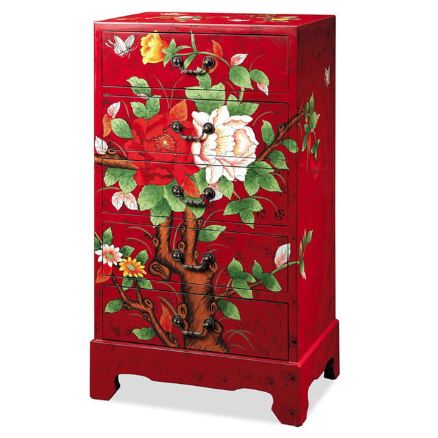 New Korean Chinese Garden Furniture Painted Red Peony Flowers Rich Festive  Bedroom Chest Of Drawers Storage
