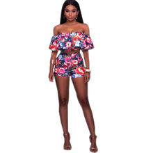 Women Summer Boho Beach Outfit Set Top Trending 2017 Slash Neck Ruffles Sexy Two Piece Set Short and Top Party Suit for Women
