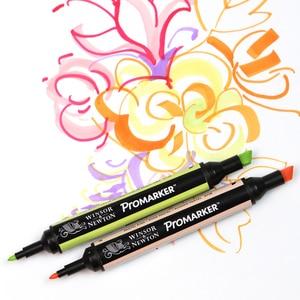 Image 5 - WINSOR & NEWTON двойной наконечник на спиртовой основе, двухсторонний тонкий/косой наконечник, маркер для художников, принадлежности для рисования