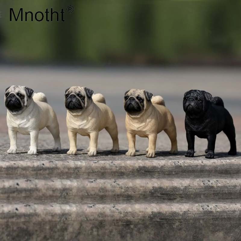 Mnotht 1/6 Scale 4Color Pug Carve Model Simulation Animal Pet Dog Model Toys For 12inch Action Figure Accessories Scene Collect 1 6 scale scene annex mr z neapolitan mastiff 001 black dog collar set tabby animal model fit 12 inch action figure doll toys