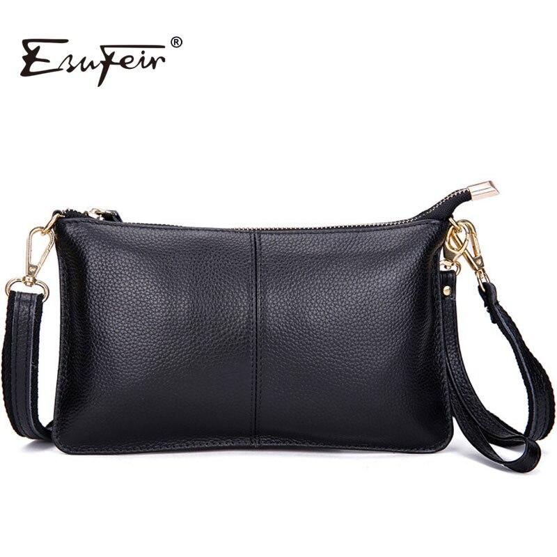 ESUFEIR 2017 100% Genuine Leather Messenger Bag Famous Brand  Women Shoulder Bag Envelope Women Clutch Bag Crossbody bag KJ076