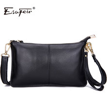 ESUFEIR 2017 100% Genuine Leather Messenger Bag Famous Brand Women Shoulder Bag Envelope Women Clutch Bag Crossbody bag KJ076