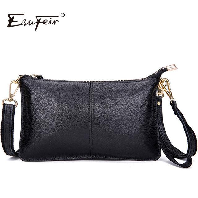 Esufeir 2017 100% genuíno mensageiro saco de couro das mulheres de marcas famosas saco mulheres envelope saco de embreagem ombro saco crossbody kj076