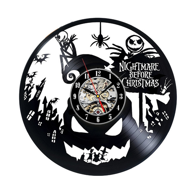 vinyl record wall clock nightmare before christmas music nursery art cd clock watch creative duvar saati