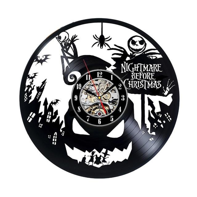 vinyl record wall clock nightmare before christmas music nursery art cd clock watch creative duvar saati