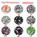 3d nail art decoraciones ss8 2.5 MM strass nail art pedrería de cristal de colores para las uñas 1400 unids/lote brillo gltter