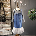 Girls Clothing Set Long Sleeve Striped Shirt And Jeans Overall Dress Kids Girl Spring Clothes Set Jeans Yarn Overall Shirt 2pcs