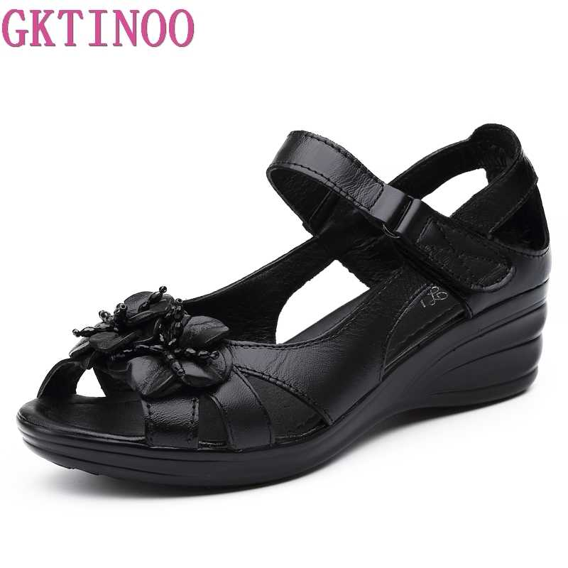 GKTINOO 2019 Gladiator Sandals Women Elegant Genuine Cow Leather Wedge Mid Heel 4cm Beaded Flower Ladies Shoes And Sandals Shoes
