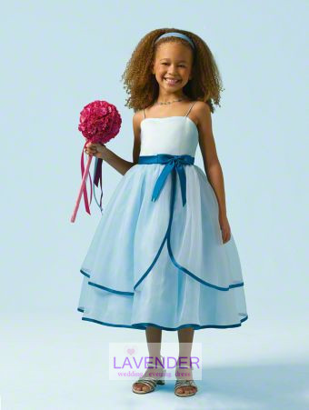 New arrival light blue lovely spaghetti straps bow knot organza flower girl dress/gowns little girl pageant dress