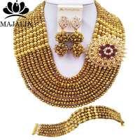 Majalia Fashion Classic Nigerian Wedding African Jewelery Golden Crystal Necklace Bride Jewelry Sets Free Shipping 10CJ0030