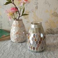 Popular Flower Vase Mother Of Pearl Shell Mosaic Glass Vase