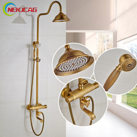 Modern Bathroom Shower Faucet Set Dual Handle Thermostatic Temperature Bath Shower Mixer Taps With Tub Filler