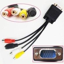 VGA 15 pin Male naar 3RCA TV S Video Av uitgang Converter Adapter Kabel M/F Connector voor PC Computer Laptop