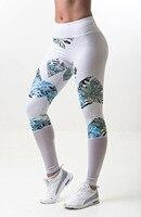 2017 Femmes Imprimé floral Maille Patchwork Leggings D'été Nouveau Blanc Évider Breatbable D'entraînement Skinny Pantalon Extensible Pantalon