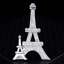 New Fashion Brooches Classical Crystal Rhinestone Eiffel Tower Brooch Charm Collar Clips Scarf Buckle Dress Clothes Accessories