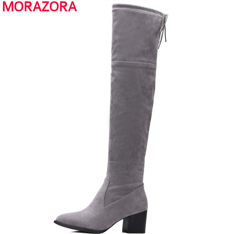MORAZORA Plus size 34-46 2018 new over the knee boots women shoes square high heels thigh high flock long boots