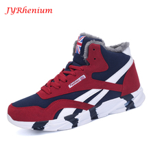 JYRhenium New Winter Men's Boots Warm Wool Sneakers Outdoor Unisex Athletic Sport Shoes Comfortable Running Shoes Sale
