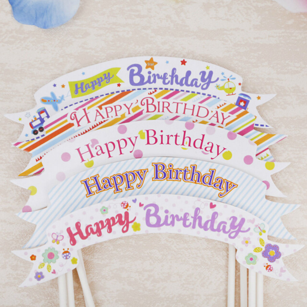 1pcs kids happy birthday banner flag cupcake cake topper baby shower