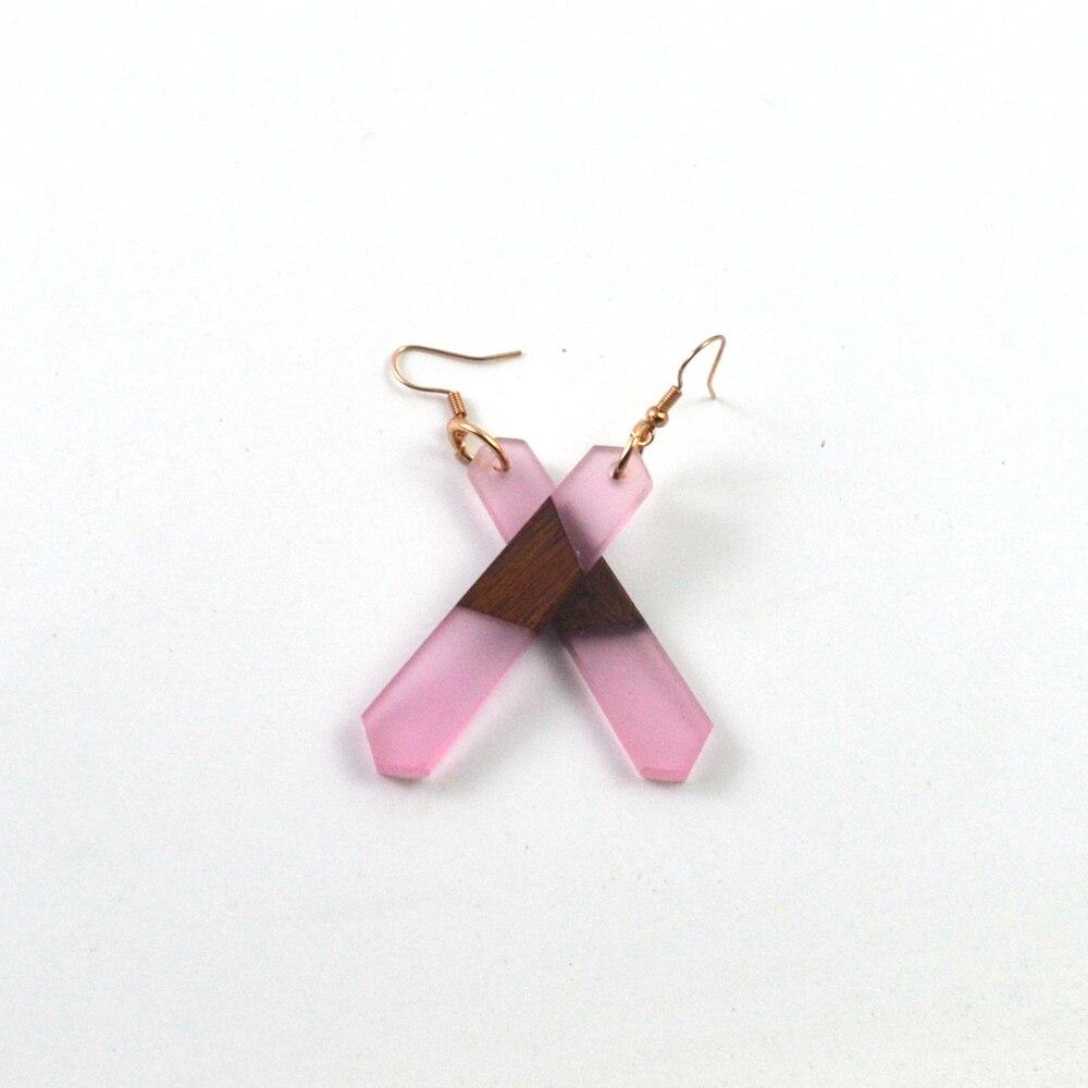 Leanzni – boucles d'oreilles en bois naturel Vintage rose clair, bijoux de mariage simples pour femmes, cadeaux, fêtes à la mode