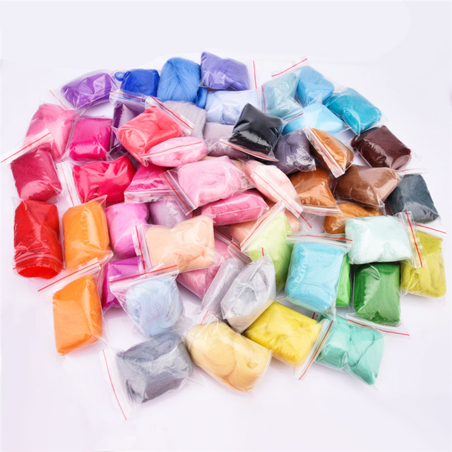 7/24/36/50 Colors Wool Felt Craft Kit Needle Felting Starter Fabric Yarn Roving DIY Spinning Sewing Mold Needlework Accessories 10