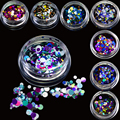1g Mini Round Thin Paillette Design Deep Colors Nail Art Glitter Decoration Nails Tips Sparkly Mixed 1mm 2mm 3mm P1-12