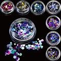 1g Mini Rodada Paillette Fina Projeto Cores Nail Art Glitter Decoração de Unhas Dicas Sparkly Profundo Misturado 1mm 2mm 3mm P1-12
