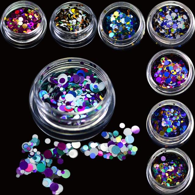 1g Mini Round Ultrathin Paillette Deep Colors Nail Glitter UV Gel Polish Manicure Tips 3D Nail Art Decorations Sequin TRP1-12