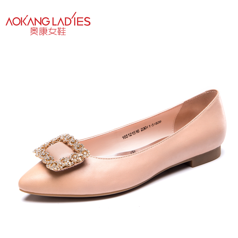 ФОТО AOKANG 2016 autumn New Arrival lady shoes sheepskin leather shoes women pointed toe flats with square buckle slip-on female shoe
