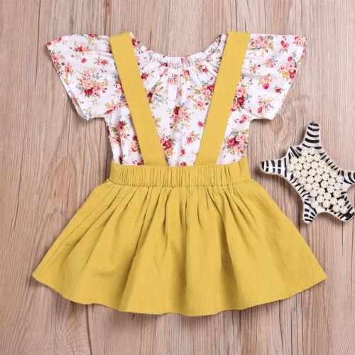 Flower Baby Kids Girls Long Sleeve Romper Tops+Suspender Skirt Overalls Sundress 2PCS