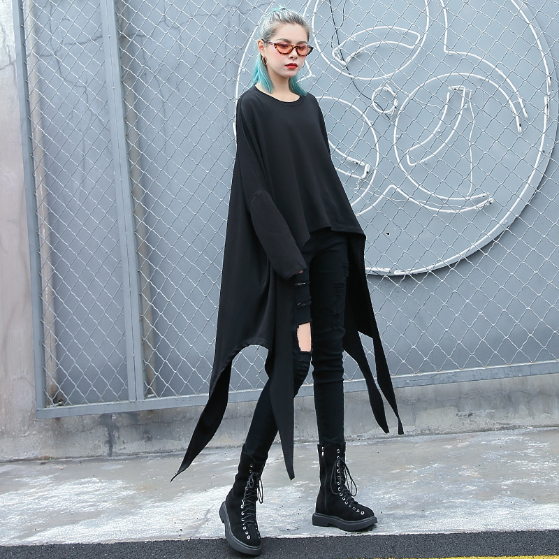 Surdimensionné femmes chauve-souris à manches longues irrégularité ourlet t-shirts femme Streetwear Hip Hop Punk gothique sweat à capuche fine noir t-shirt hauts