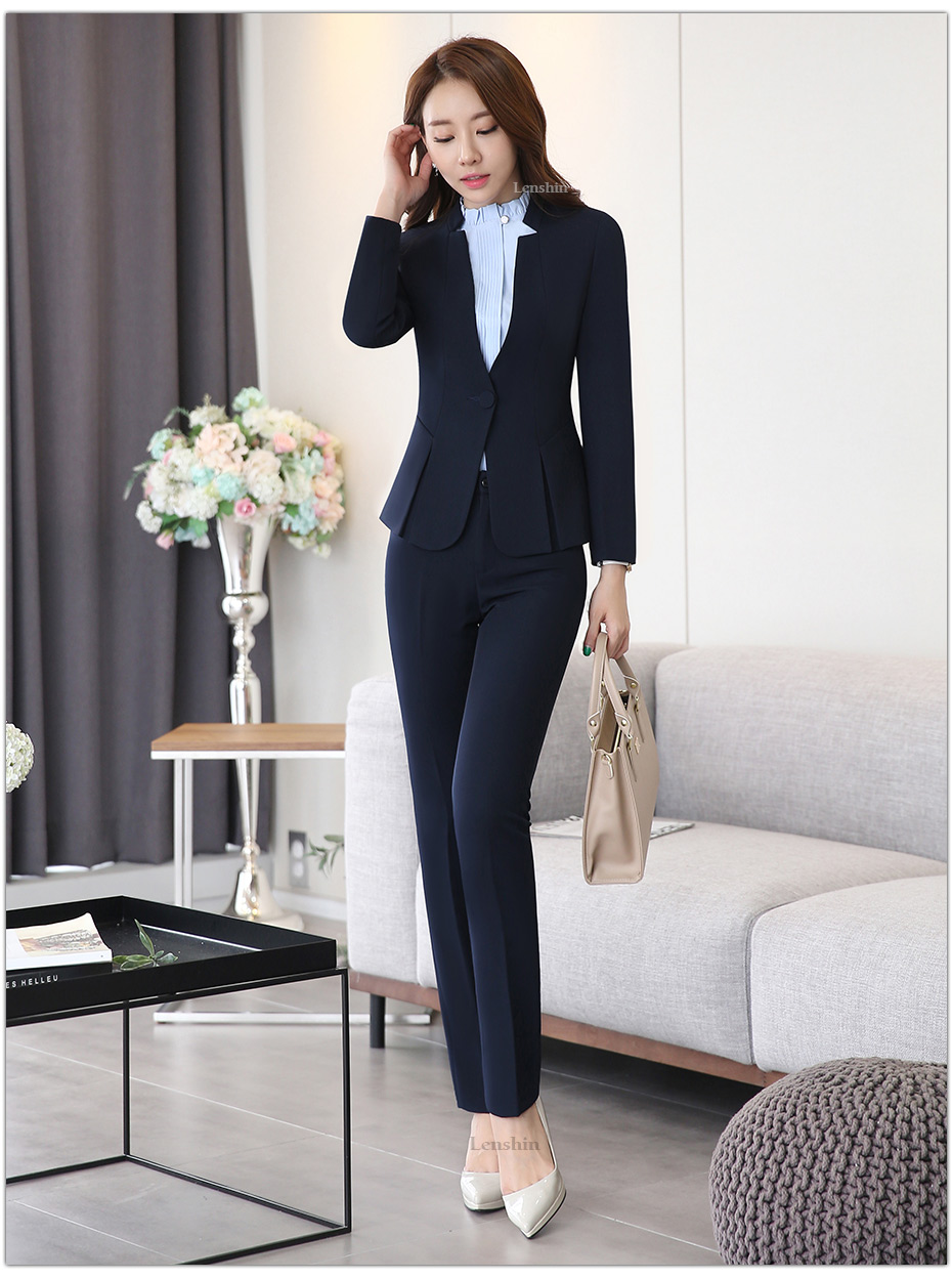 2 piece Gray Pant Suits Formal Ladies Office OL Uniform Designs Elegant Business Work Wear Jacket with Trousers Sets 14