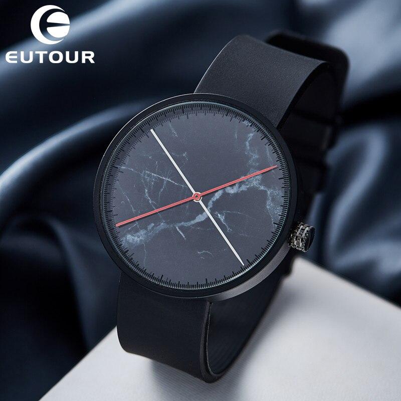 2017 Eutour New Luxury Brand Popular Men's Retro Rubber Quartz watch Black Marble Watches Fashion Clock Wristwatches Minimal