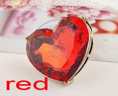 rings finger Fashion popular Jewelry for women Girls lady red heart faux rhinestone adjustable design CN post