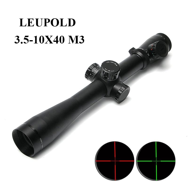 LEUPOLD 3.5-10X40 M3 Tactical Optics Riflescope Red&Green Illuminated Optic Sight Rifle Scope Hunting Scopes for Airsoft Gun leupold 3 5 10x40 m3 optics rifle scope red green dot glasvezel zicht scope rifle jacht scopes voor airsoft gun