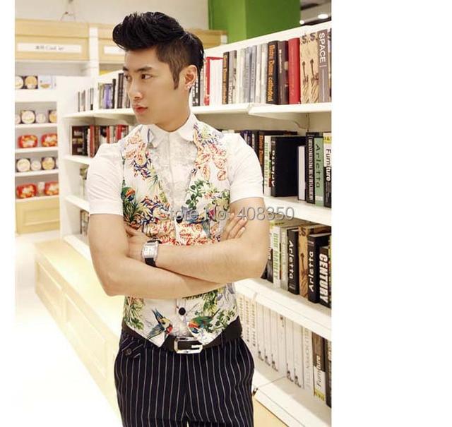 Moda Floral Aves Imprimir Slim Fit Terno dos homens Vest com Belt Vestido de Festa Legal Coletes À Prova de Colete Casuais Verão Apuramento