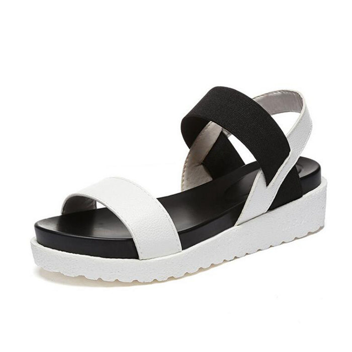 Korean 2017 Summer Shoes Women Platform Sandals Slip with Flat Leather Casual Open Toe Gladiator Wedges Female Beach Shoes Mujer 2017 summer shoes woman platform sandals women soft leather casual open toe gladiator wedges trifle mujer women shoes flats