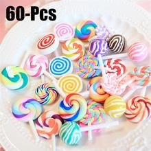 60Pcs /30Pcs Polymer Clay Artificial Lollipop Simulation Food Rainbow Candy DIY Parts Crafts For Chirdrens Day Party Decor