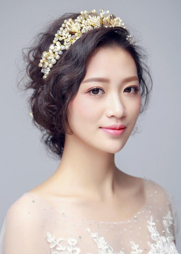 Bride Diaries Baroque Gold Crown Women Prom Tiara Vintage Wedding