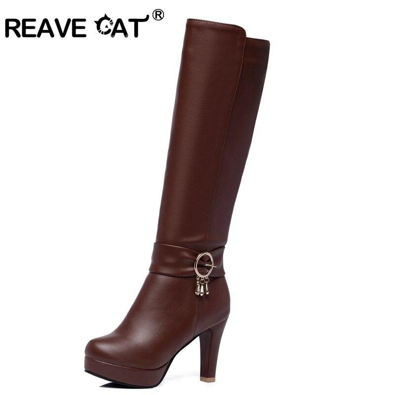 online store a2268 568c2 US $28.96 45% OFF REAVE KATZE Schuhe frauen High heels Knie stiefel Damen  herbst winter stiefel Plattform Strass Glitter Schnalle Zipper Warme ...