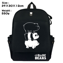 289abf1a6f9b01 Lovely We Bare Bears Backpack Grizzly Panda Ice Bear Double-Shoulder Bag  Black Canvas Travel
