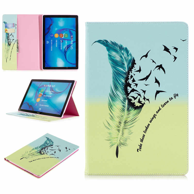 עבור Huawei MediaPad M5 10 תלת לקפל עור דפוס דפוס מעמד מתקפל Tablet Folio Case עבור MediaPad M5 10 Pro 10.8 אינץ