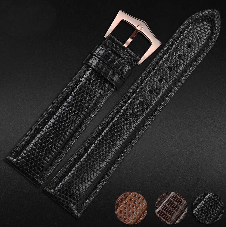 Customizable Size Repalcement Watchbands 18mm 19mm 20mm Premium Black 100 Genuine Lizard Leather Watch Strap Band