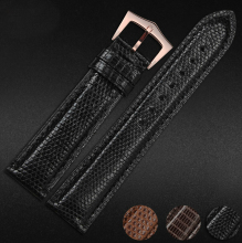 Настраиваемый размер Repalcement ремешки 18 мм 19 мм 20 мм премиум черный 100% натуральная ящерица кожаный ремешок группы браслеты